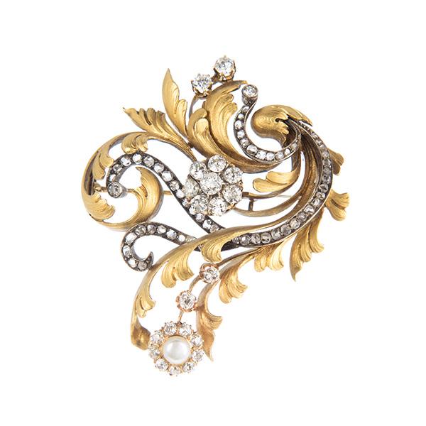 Broche de pecho de oro con perlas y diamantes