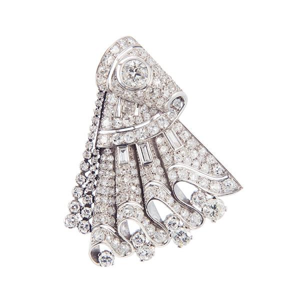 Broche de abanico de platino y diamantes