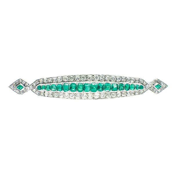 Broche barra de platino Art Decó con diamantes y esmeraldas