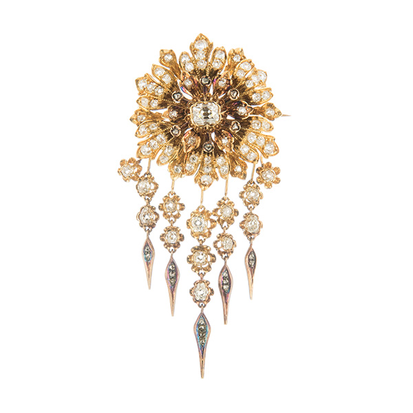 Broche colgante de oro con diamantes
