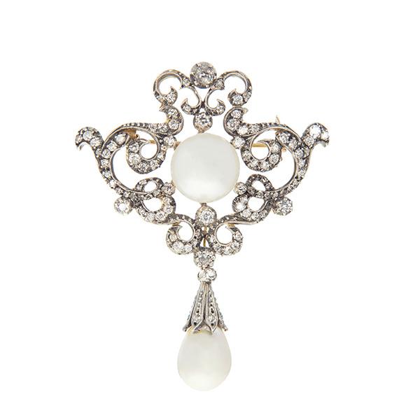 89acb7756674 Broche de oro con diamantes y perlas - Joyeria Chico