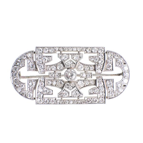 Broche placa de platino y diamantes
