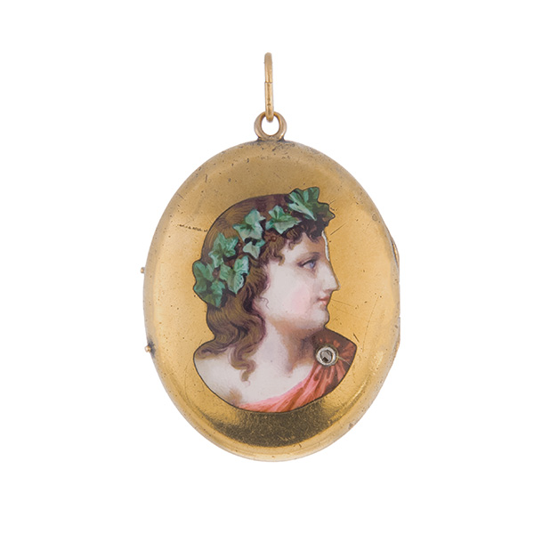 Colgante guardapelo oval con figura esmaltada