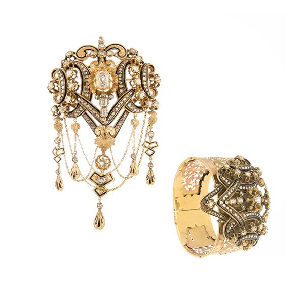 Conjunto de broche y pulsera de oro esmaltes negros y diamantes