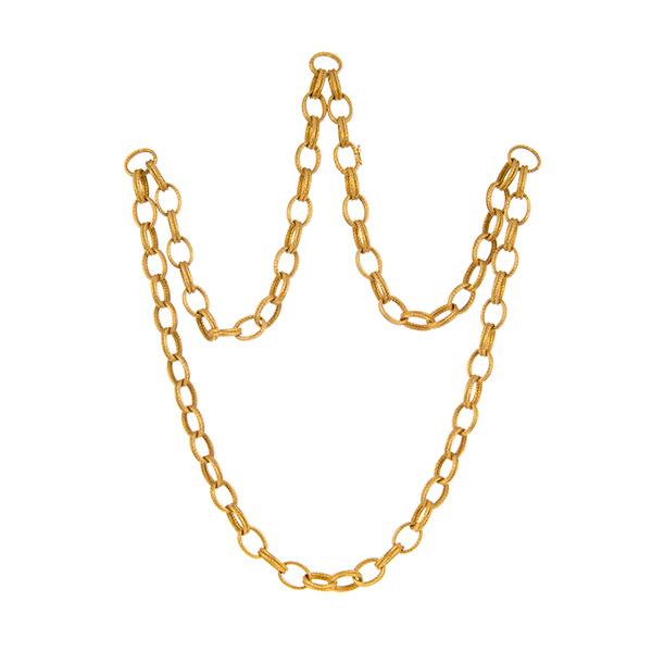 Gargantilla de oro amarillo matizado formado por eslabones