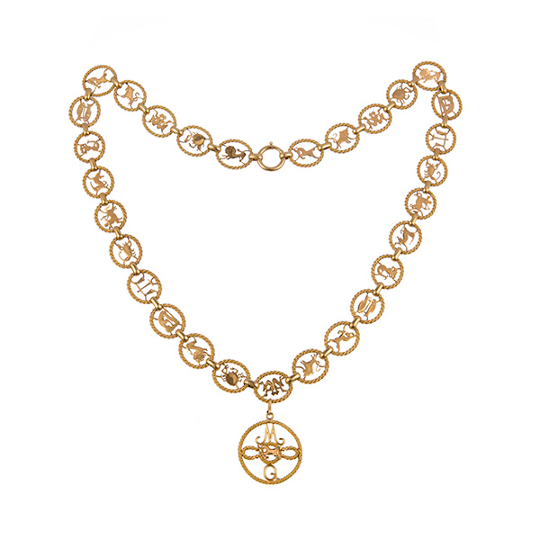 Gargantilla antigua de oro, simbolos del zodiaco