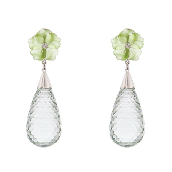 Pendientes de ágata verde, prasiolita, oro blanco y diamantes