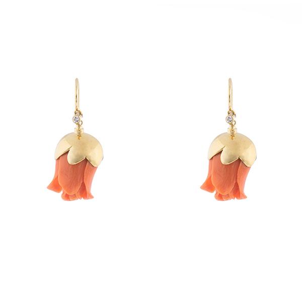 Pendientes de flores de coral, oro con diamantes
