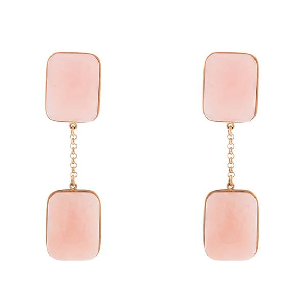 Pendientes de oro y ópalo rosa