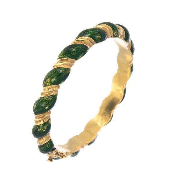 Pulsera rígida de esmalte verde y oro