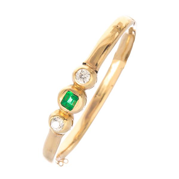 Pulsera rígida oro esmeralda y dos diamantes