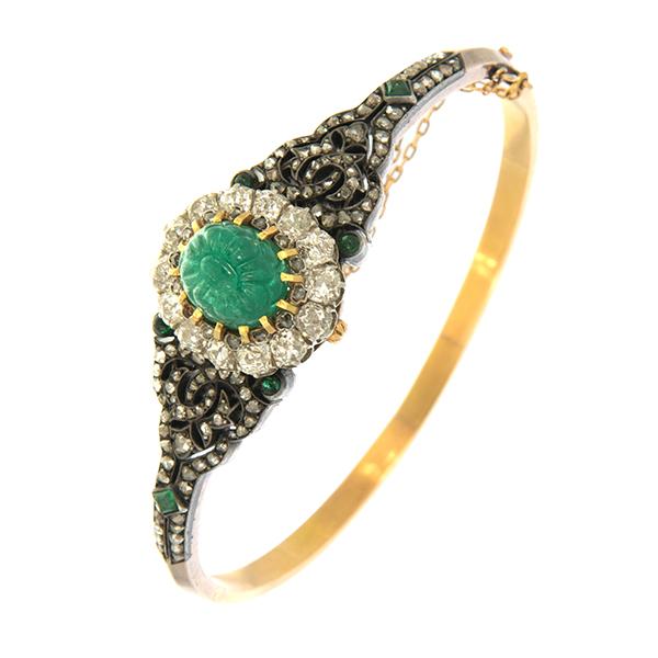 Pulsera rígida de oro amarillo, esmeralda y diamantes