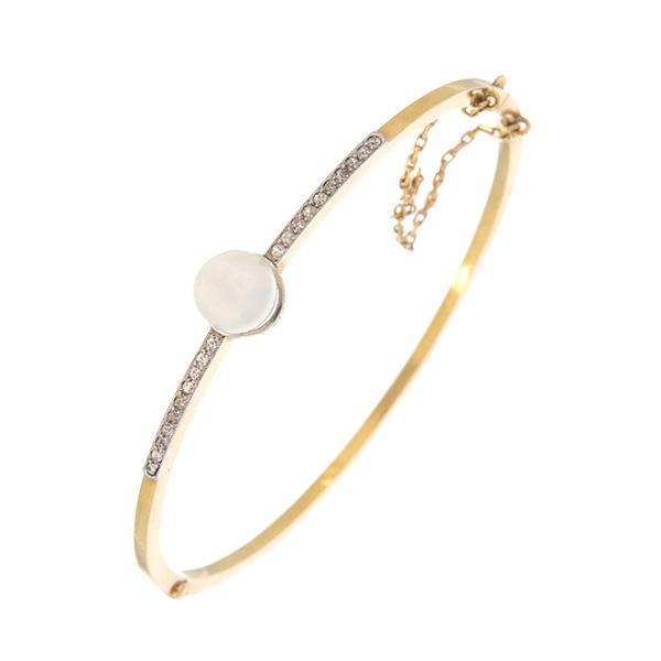 Pulsera rígida con una perla diamantes