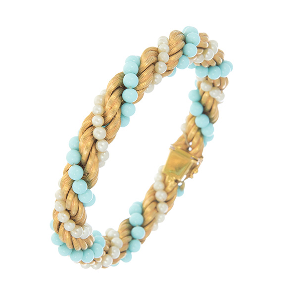 Pulsera de cordón de oro trenzado con hilos de turquesas y perlas